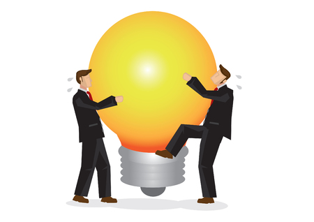 Two businessman trying to grab the big idea that can move the corporate world. Showing the advantage of being creative in the business world. Vector illustration.