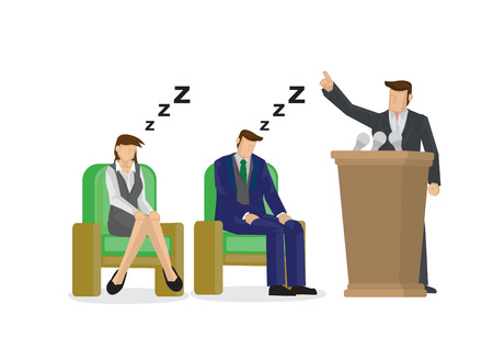 Two sleepy and bored employees at a business speaking presentation. Showing a problem and failure in the company culture. Vector isolated illustration. Stock Vector - 123111982