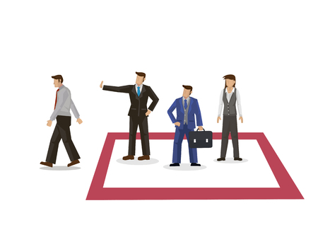 Businessman walking away after being rejected into social club that he desire. Concept of business relationship. Vector illustration with a white background.
