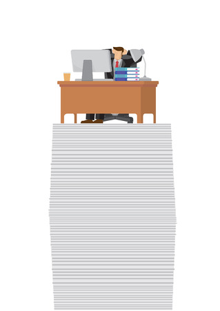 Happy successful businessman relaxing on top of a high stack of paper. Showing a productive entrepreneur with a lot of project to do. Vector illustration. Imagens - 122727579