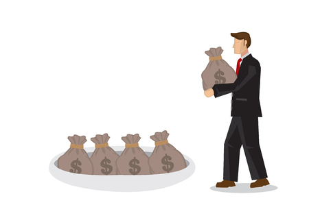 Businessman storing his money in a hole. Concept of investing, savings; fund deposit or asset building. Isolated vector Illustration. Ilustrace
