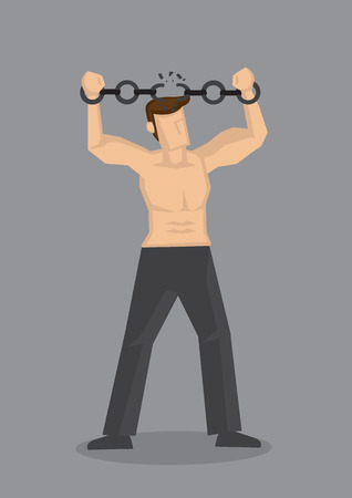 Vector cartoon illustration of a topless muscular strong man breaking chain handcuffs on his wrists isolated on grey background.