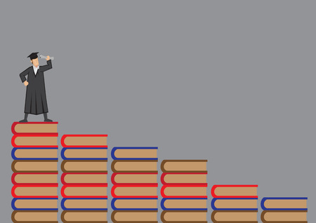 Graduate wearing mortar board and academic dress standing at the top of a flight of book steps. Vector cartoon illustration on academic achievement concept isolate on grey background.