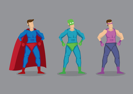 Set of three vector cartoon superhero wearing fancy costumes and masks. Character design isolated on grey background. Illustration