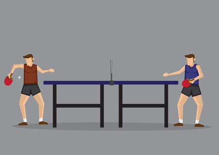 Two men playing table tennis in side view. Vector cartoon illustration isolated on grey background. Illustration