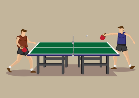 Vector illustration of two players playing table tennis game at green table tennis table in side view isolated on neutral background.