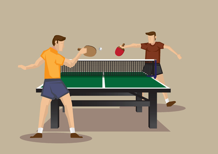 Cartoon vector illustration of table tennis players playing table tennis isolated on plain background.