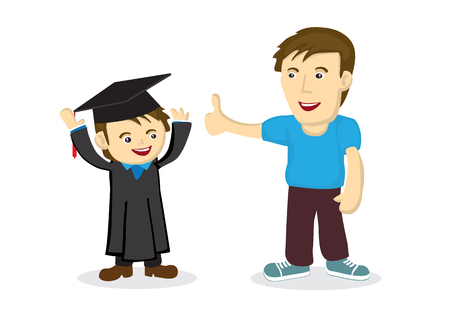 Father praise his child on his graduation day. Concept of celebration. Isolated vector illustration. Vecteurs