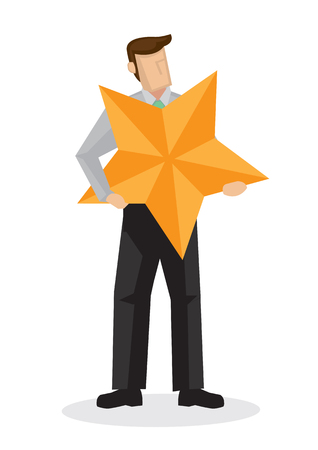 Businessman in suit holding a giant star. Concept of best worker or a positive review. Flat isolated vector illustration. Stock Illustratie