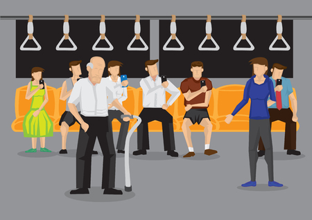Woman giving up her seat to elderly man in public transport. Vector illustration on kind acts in public places concept.