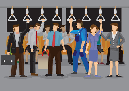 Vector illustration of many commuters inside a crowded metro or subway during rush hours.