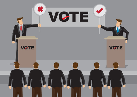 Two election candidates standing behind podium and holding cross and tick symbol signs in front of audience. Vector cartoon illustration on election debate concept. Illustration