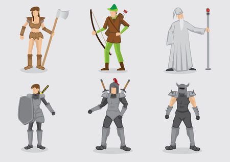 Vector illustration of cartoon character design and their weapons for medieval fantasy theme games isolated on plain background.