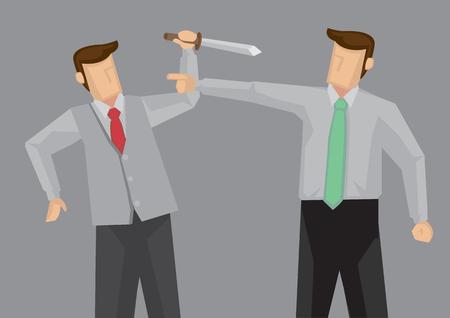 Hombre de dibujos animados sosteniendo un cuchillo tratando de matar al otro hombre que lo apunta ofensivamente. Ilustración de dibujos animados de vector sobre el feo concepto de confrontación.