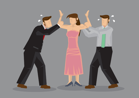 Popular woman with two desperate male suitors grabbing her. Vector cartoon illustration on  concept for complicated relationship.
