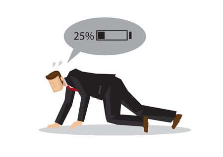 Exhausted businessman with low battery power. Concept of exhausted employee or corporate fatigue. Isolated vector illustration.