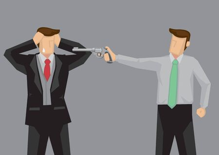 Cartoon man wearing suit in grief and fear because another man pointing a hand gun at him. Vector illustration isolated on grey background. Illustration