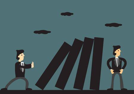 Cartoon-Business-Profi, der versucht, Kollegen hinter seinem Rücken zu sabotieren. Kreative Vektorgrafik für Konzept zu toxischen Menschen und Verhalten am Arbeitsplatz. Vektorgrafik
