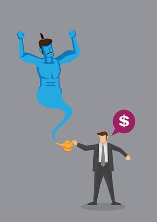 Cartoon businessman request for money from blue genie coming out of golden magic oil lamp. Creative vector illustration on wealth desire concept isolated on grey background.