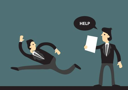 Business professional run away from another businessman who asks for help. Stylized cartoon vector illustration on green background.