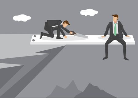 Cartoon man sitting at end of springboard at high mountain cliff watching helplessly at rival sawing the springboard. Creative vector illustration on concept for business in a risky position. 向量圖像