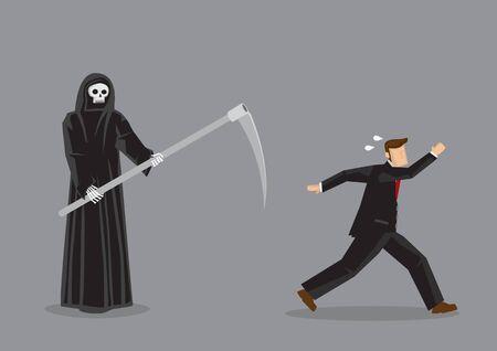 Professionnel des affaires terrifié fuyant Grim Reaper, le dieu de la mort. Illustration vectorielle du concept d'horreur isolé sur fond gris.