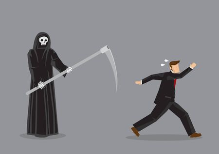 Terrified business professional running away from Grim Reaper, the God of Death. Vector illustration of on horror concept isolated on grey background.