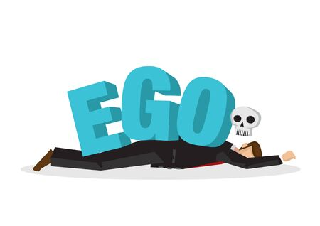 "Businessman attacks, fall and collapse by giant lettering ""Ego"". Concept of identity crisis, emotional sabotage self pride or mental misfortune. Flat vector isolated illustration."