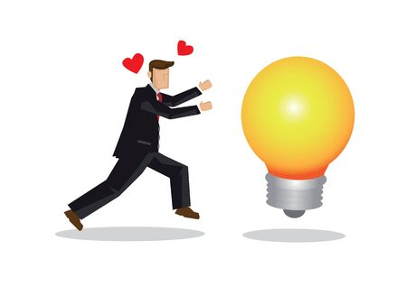 Businessman chasing after a giant light bulb. Concept of idea sourcing, innovation or creative thinking. Flat isolated vector illustration