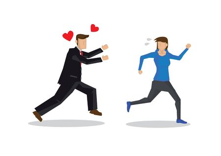 Man in suit chasing a beautiful woman. Concept of seduction or harassment. Flat isolated vector illustration.