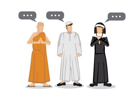 People of different religions. Islam Muslim, Buddhism monk and a christianity nun. Friendship and peace conversation between religion characters. Flat isolated vector illustration. Vectores