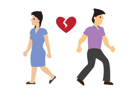 Man and woman couple with broken heart. Concept of divorce, disagreement or separation. Flat isolated vector illustration.