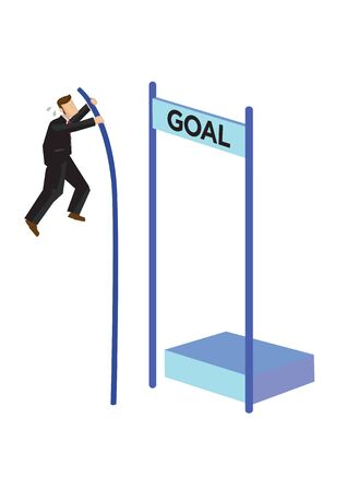 Businessman pole vaulting over goal. Concept of goal management, goal setting or motivation. Flat isolated vector illustration.
