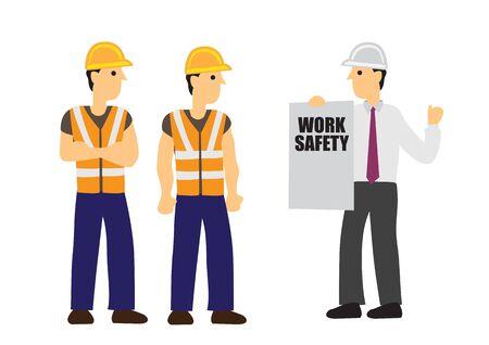 L'entrepreneur informe la sécurité du travail de ses ouvriers de la construction. Concept de sécurité au travail et de travail d'équipe. Illustration vectorielle de dessin animé plat.