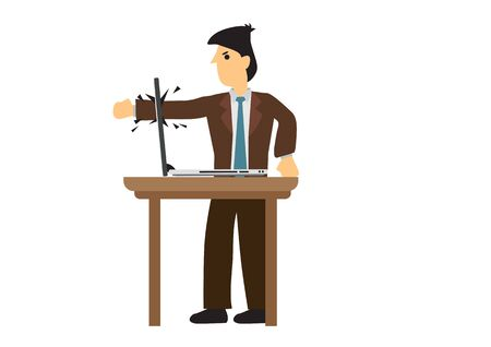 Emotional angry businessman crashing his laptop computer. Concept of computer technology problem. Flat isolated vector illustration. Vectores