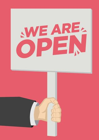 Retail Store Open promotion shoutout with a placard banner against a red background. Concept of sales, consumerism or marketing. Flat vector illustration.