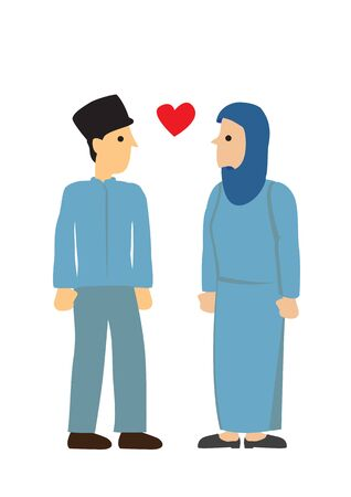 Muslim couple looking at each other with love. Concept of love and romance. Flat isolated vector illustration.