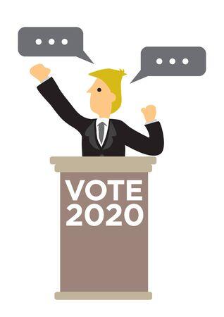 Político que pronuncia un discurso en un mitin de campaña electoral. Concepto de elección presidencial. Ilustración de vector plano. Ilustración de vector