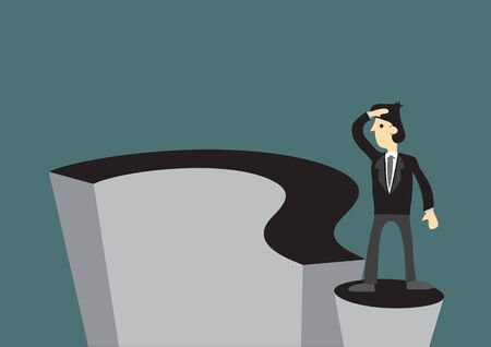 Confused businessman on a giant question mark, do not know where to go. Vector illustration.