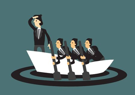 Business people rowing on a boat leaning by a leader. Concept of teamwork and motivation. Vector illustration.  Illustration