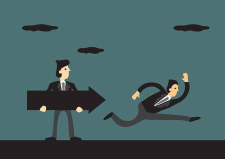 Business leader holds a black arrow, leading his people to the reach their corporate goal on a green background. Concept of business leadership, teamwork and cooperation. Vector cartoon illustration