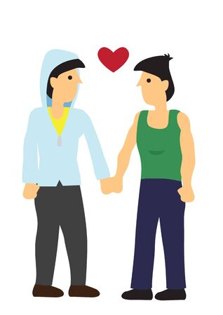 Gay couple looking at each other with love. Concept of love and romance. Flat isolated vector illustration.