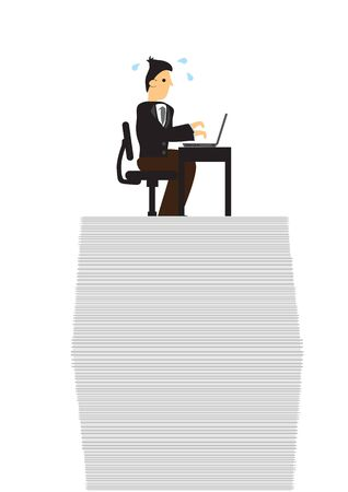 Stress businessman on top of documents doing work. Concept of overwork, office culture or corporate sabotage. Isolated vector illustration.