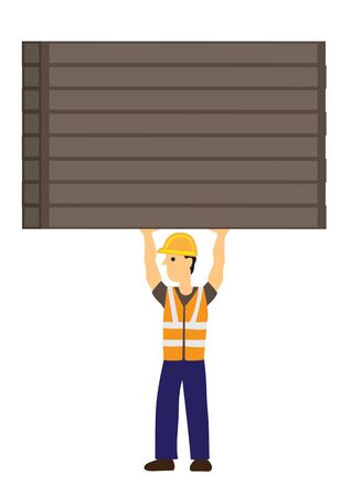 Strong construction worker carry heavy steel bars. Concept of super human. Flat isolated vector illustration.
