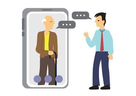Concept of a mobile chat or conversation of people via mobile phones. Illustrate globalization or connection. Flat isolated vector cartoon illustration.