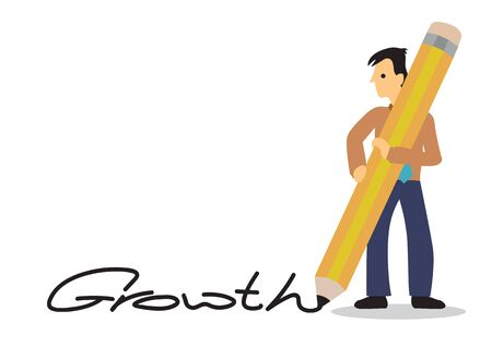 Businessman writes growth word with his giant pencil. Concept of business growth or corporate disruption. Vector illustration. Imagens - 128874116