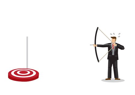 Confuse businessman shooting arrow with a dropdown target. Concept of lost goal or business failure. Flat isolated vector illustration.  イラスト・ベクター素材