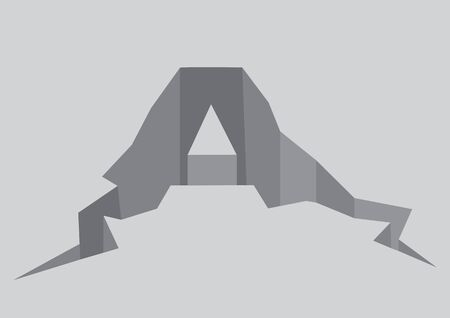 Vector illustration of cracked font A alphabet in grey background. Copy can be use to portray breakdown, problem or earthquake. 일러스트