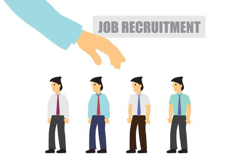 Employer recruits and selects staff. Concept of people recruitment or headhunting. Flat cartoon isolated illustration.