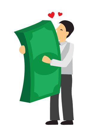 Homme d'affaires étreignant un gros tas d'argent géant avec amour. Concept de richesse, de réussite et d'avidité. Illustration de dessin animé de vecteur plat.
